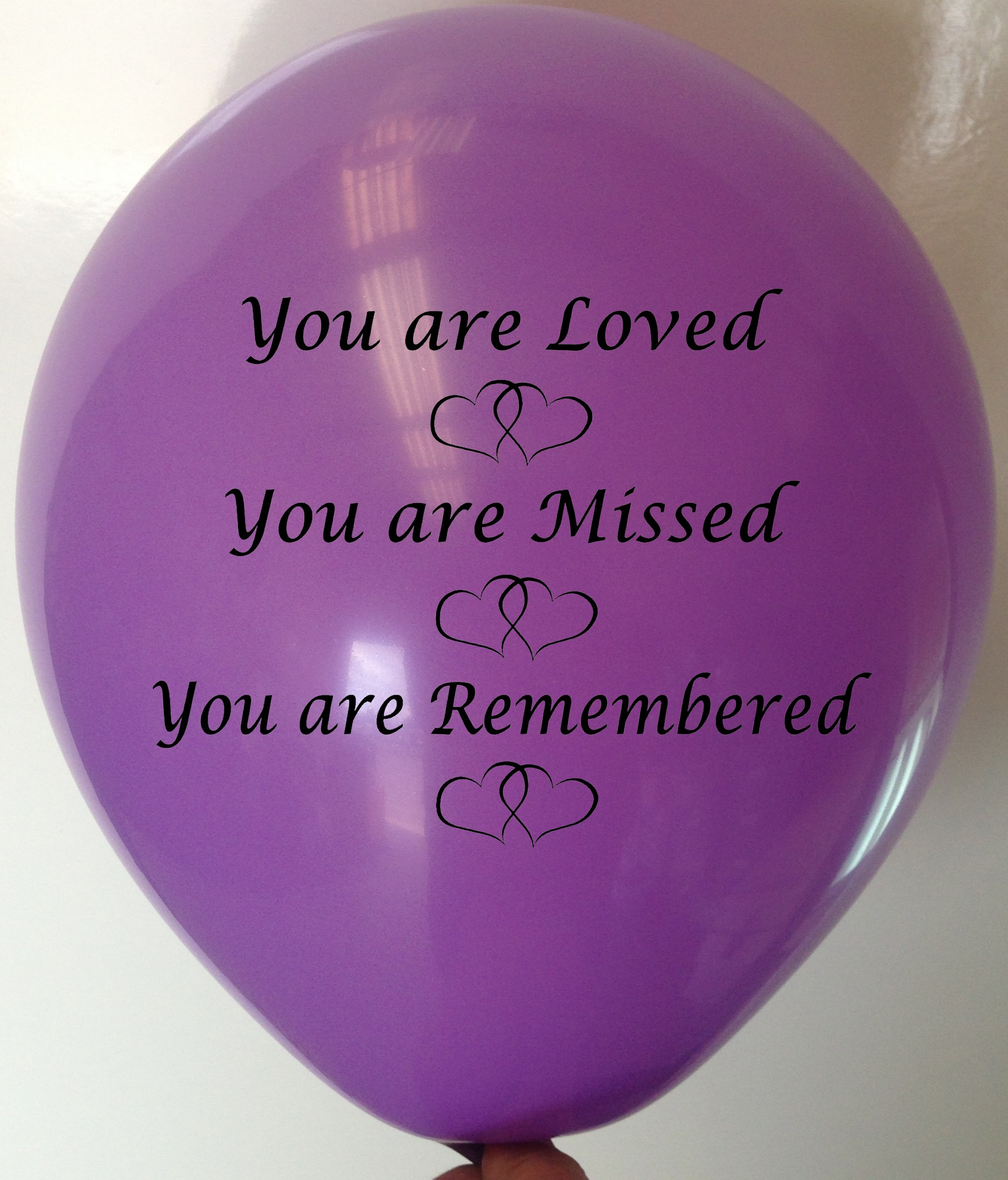 Memorial Balloons Lavender You are loved, you are missed, you are remembered