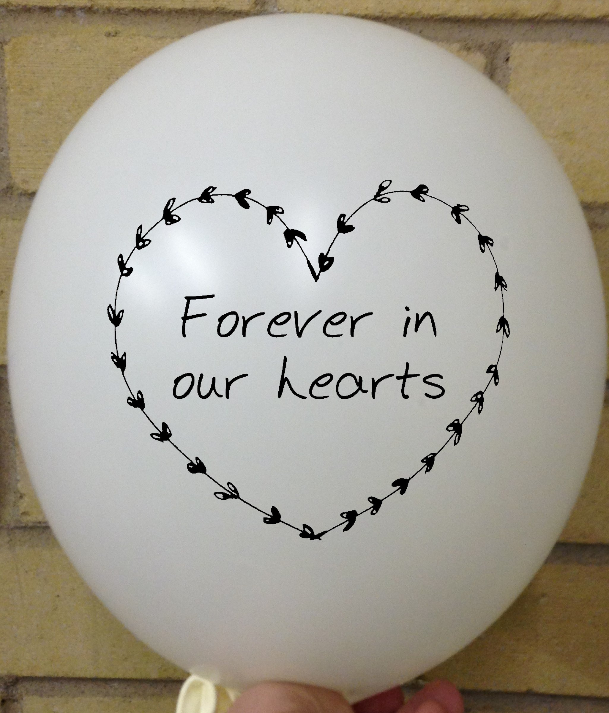 Memorial Balloons White Forever in our Heart